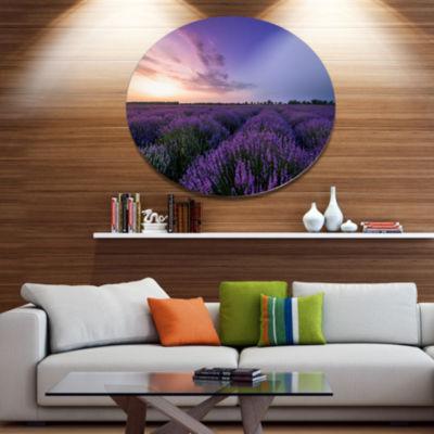 Designart Beautiful Lavender Flowers At Sunset Floral Metal Circle Wall Art