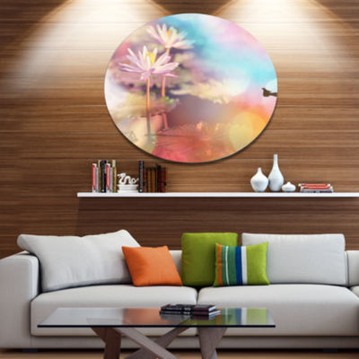 Designart Lotus on Abstract Background Floral Metal Circle Wall Art