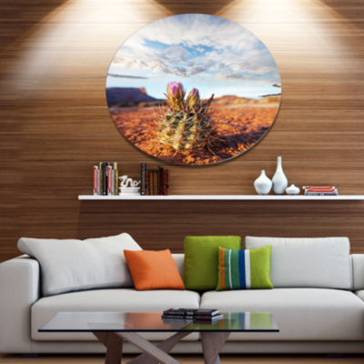 Designart Large Cactus under Cloudy Sky Floral Metal Circle Wall Art