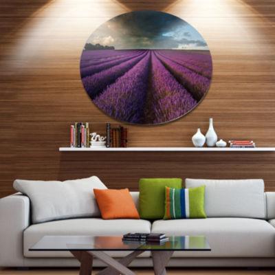 Designart Lavender Field and Dramatic Sky Floral Metal Circle Wall Art