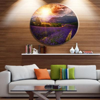 Designart Beautiful Sunset over Lavender Field Floral Metal Circle Wall Art