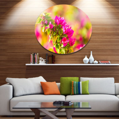 Designart Beautiful Pink Bougainvillea Flowers Floral Metal Circle Wall Art