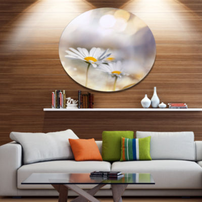 Designart Chamomiles on Blue Background Floral Metal Circle Wall Art