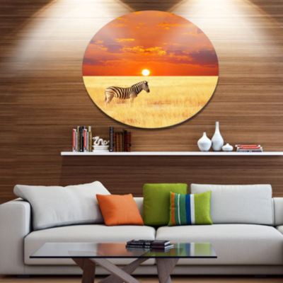 Designart Scenic African View with Zebra Extra Large Landscape Metal Circle Wall Art