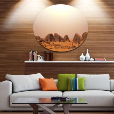 Designart Beautiful Meroe Pyramids in Sudan ExtraLarge Landscape Metal Circle Wall Art