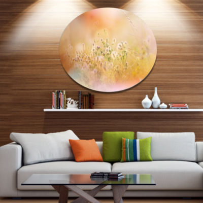 Designart Wild Purple Flowers on Light BackgroundLarge Flower Oversized Metal Circle Wall Art