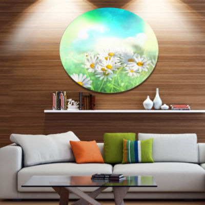 Designart Chamomiles on Abstract Background FloralOversized Metal Circle Wall Art