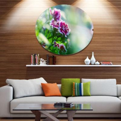 Designart Pink Flowers on Green Background FloralOversized Metal Circle Wall Art