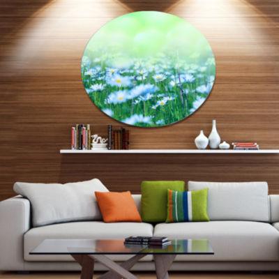 Designart Chamomile Flowers on Green Background Large Flower Oversized Metal Circle Wall Art