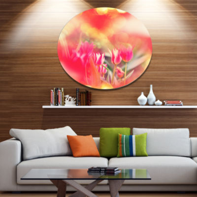 Designart Tulips on Abstract Red Background FloralOversized Metal Circle Wall Art
