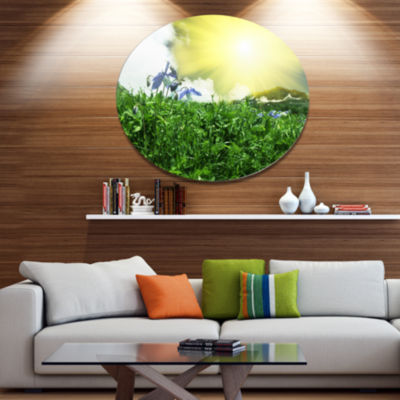 Designart Sunny Meadow with Green Grass Extra Large Landscape Oversized Metal Circle Wall Art