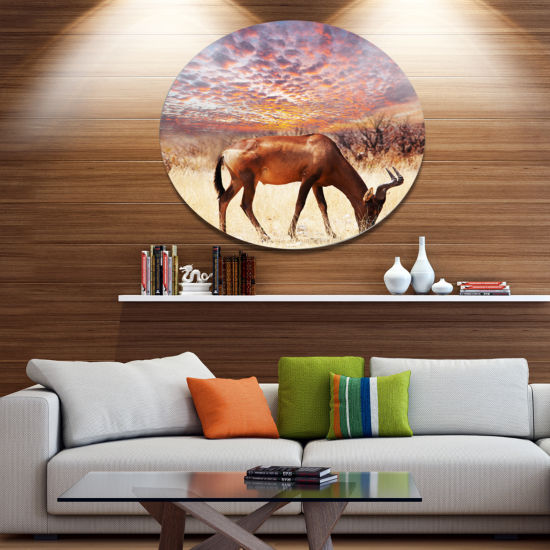 Designart Antelope in Bush under Dramatic Sky African Landscape Oversized Metal Circle Wall Art