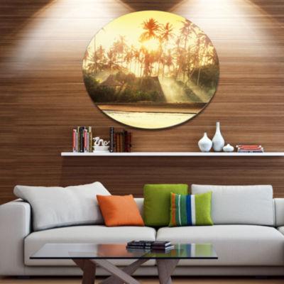 Designart Bamboo Huts on Tropical Island LandscapeOversized Metal Circle Wall Art