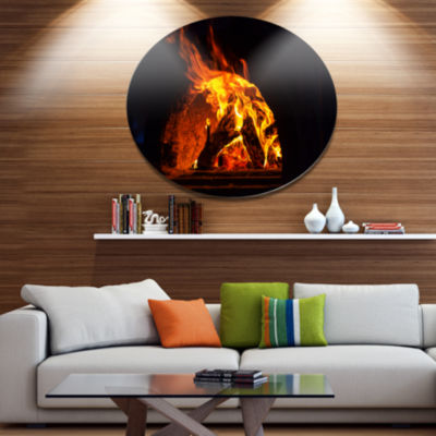Designart Wood Stove with Fire and Blaze AbstractOversized Metal Circle Wall Art
