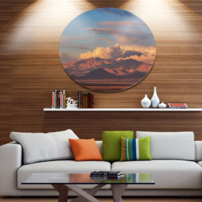 Designart Argentina Mountains with Clouds AfricanLandscape Oversized Metal Circle Wall Art