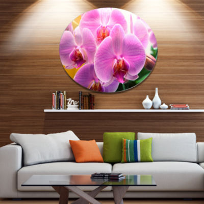 Designart Beautiful Purple Orchid Flowers Large Flower Oversized Metal Circle Wall Art