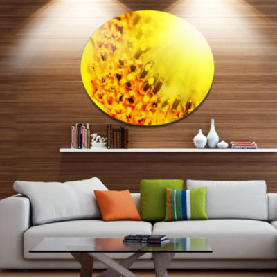 Designart Bright Yellow Sunflower Close Up FloralOversized Metal Circle Wall Art