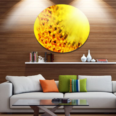Designart Bright Yellow Sunflower Close Up FloralOversized Metal Circle Wall Art
