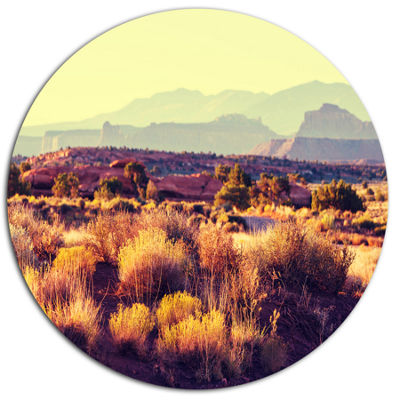 Designart Prairie with Layers of Mountains Landscape Oversized Metal Circle Wall Art