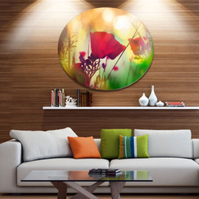 Designart Poppy Flowers with Bokeh Background Floral Oversized Metal Circle Wall Art