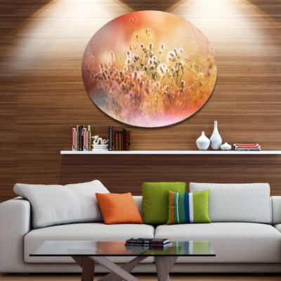 Designart Wild Flowers on Light Background FloralOversized Metal Circle Wall Art