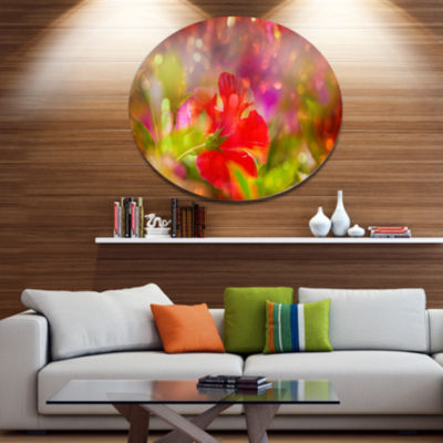 Designart Beautiful Red Rural Summer Flowers Floral Oversized Metal Circle Wall Art