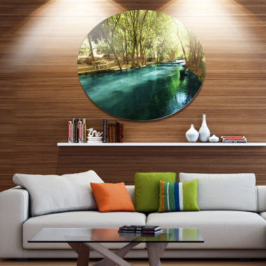 Designart Beautiful Small River in Forest Landscape Oversized Circle Metal Artwork