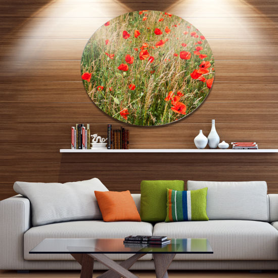 Designart Red Poppy Field with Full of Flowers Large Flower Oversized Circle Metal Artwork