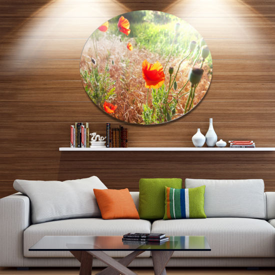 Designart Beautiful Morning View of Poppies FloralOversized Metal Circle Wall Art
