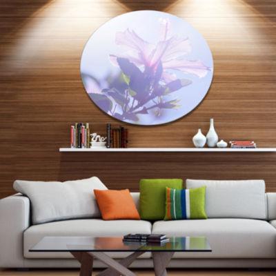 Designart Pink Hibiscus Flower in Hawaii Large Flower Oversized Metal Circle Wall Art