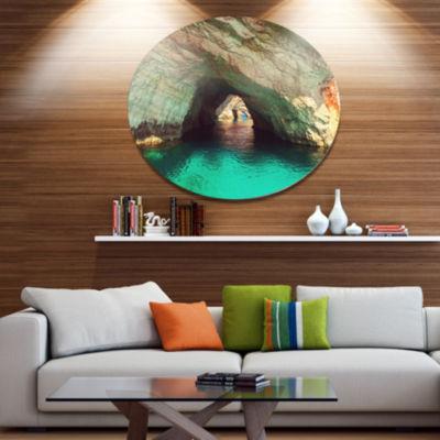 Designart Beautiful Sea Cave in Greece Landscape Oversized Metal Circle Wall Art