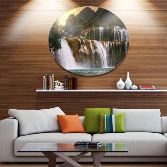 Designart Beautiful Waterfall in Vietnam LandscapeOversized Metal Circle Wall Art