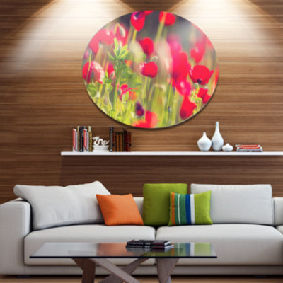 Designart Red Poppies on Green Background Large Flower Oversized Metal Circle Wall Art