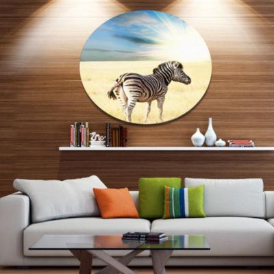 Designart Wandering Zebra At Bright Sunrise African Oversized Metal Circle Wall Art