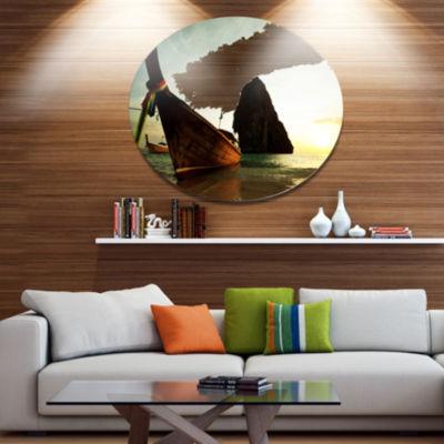 Designart Tropical Beach with Huge Boat Seashore Oversized Metal Circle Wall Art