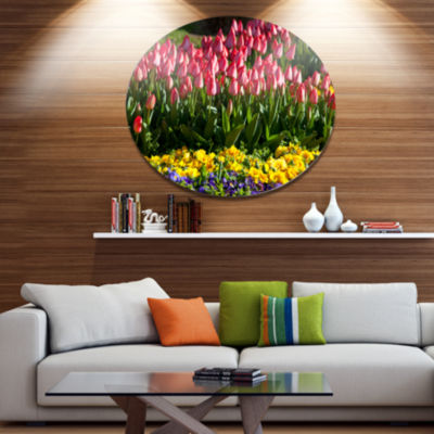 Designart Red Tulips with Yellow Purple Flowers Large Flower Oversized Metal Circle Wall Art