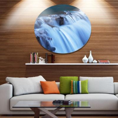 Designart Fantastic Blue Water Cascade Extra LargeLandscape Metal Circle Wall Art