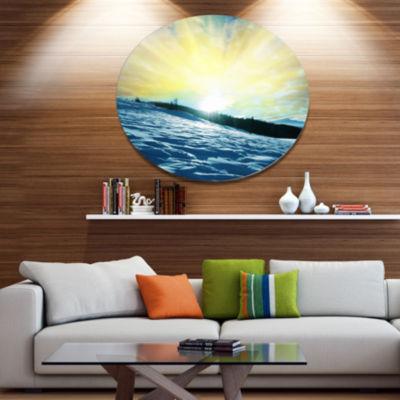 Designart Winter with Blue Waters At Sunset Seashore Oversized Metal Circle Wall Art