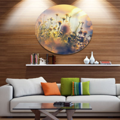 Designart Sunny Meadow Flowers and Grass Large Flower Oversized Metal Circle Wall Art