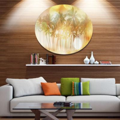 Designart Palms in Serene Tropical Beach LandscapeOversized Metal Circle Wall Art