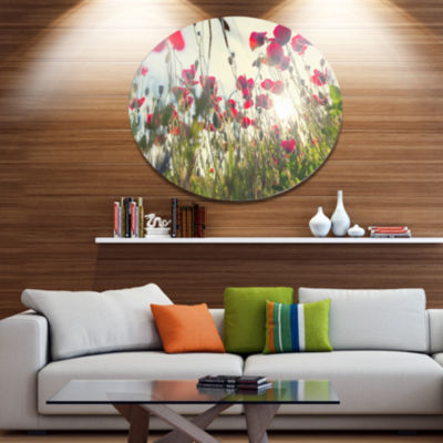 Designart Poppy Flowers on Summer Meadow Floral Oversized Metal Circle Wall Art