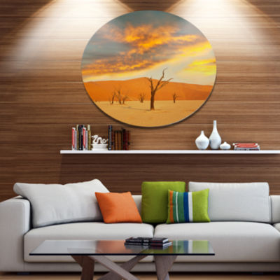 Designart Colorful Death Valley with Dry Trees African Landscape Oversized Metal Circle Wall Art