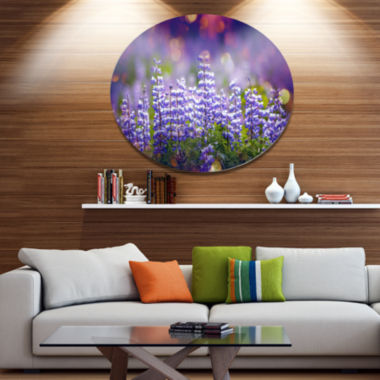Designart Blue Lupin Flowers on Blue Background Large Flower Oversized Metal Circle Wall Art