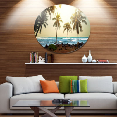 Designart Rocky Tropical Beach with Palms SeashoreOversized Metal Circle Wall Art