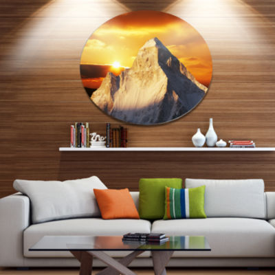 Designart Shivling Garhwal Himalaya At Sunset Landscape Oversized Metal Circle Wall Art