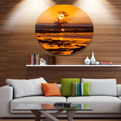 Designart Lonely Mangrove in Florida Coast AfricanLandscape Oversized Metal Circle Wall Art