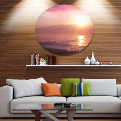 Designart Purple Tinged Seashore At Sunset Seashore Oversized Metal Circle Wall Art