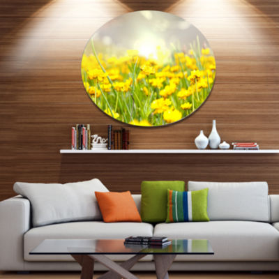 Designart Sunny Meadow with Yellow Flowers FloralOversized Metal Circle Wall Art