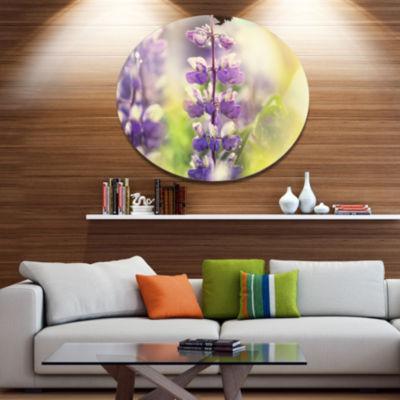 Designart Beautiful Close Up of Blue Lupin FlowersLarge Flower Oversized Metal Circle Wall Art