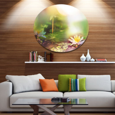 Designart Lotus Flowers on Green Background LargeFlower Oversized Metal Circle Wall Art